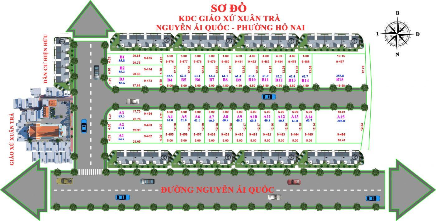 sơ đồ dự án KDC Xuân Trà